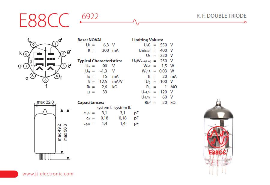 e88cc_popis_001_v Datasheet Vacuum Tube on 6v6gt, eniac computer,