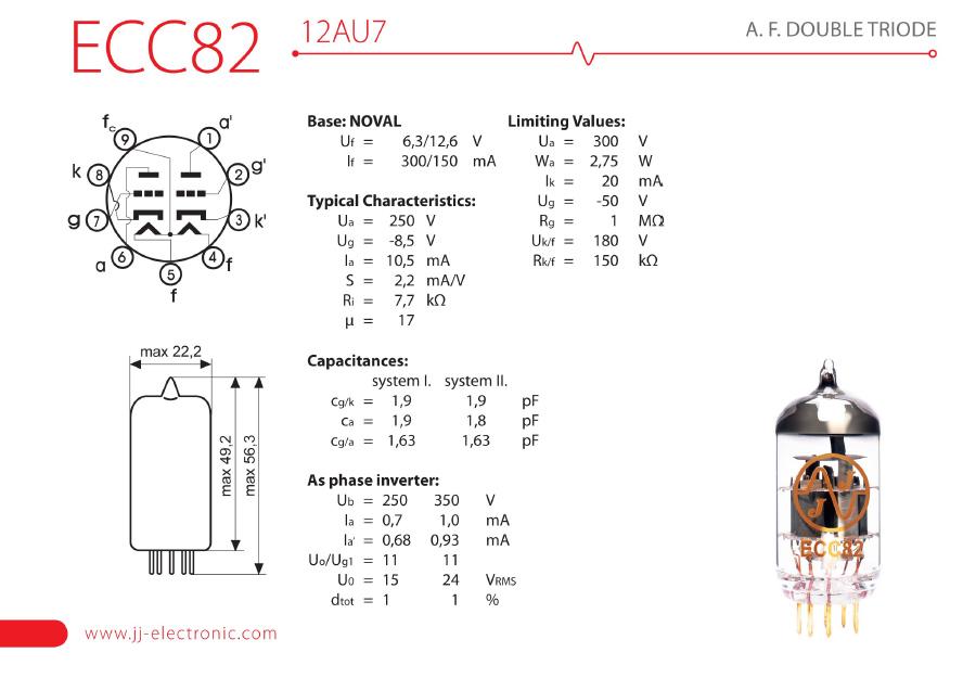 JJ Electronic - ECC82 / 12AU7 - gold